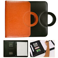 Leather Travel A4 Zipped Document Bag Business Conference Folder with Calculator
