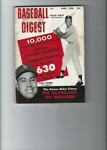 BASEBALL DIGEST 1958 WILLIW MAYS AND DUKE SNIDER COVER
