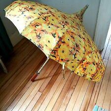 New listing Vintage Pagoda Umbrella Yellow w/Orange Flowers ~ Bakelite Handle ~ Antique