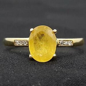 Genuine 1.50ctw Canary Yellow Sapphire & H-SI Diamond 14K Yellow Gold 925 Ring