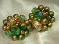 Vintage 1950's Japan Signed Green Gold Classy Cluster Clip On Earrings  880jl9