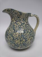 Robinson Ransbottom Pottery Spongeware Blue Pitcher Ewer #700 Roseville OH 3qt