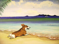 11x14 PRINT OF PAINTING PEMBROKE WELSH CORGI SEASCAPE BEACH FOLK ART RYTA DOG