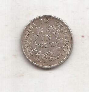 CHILE ANTIGUA MONEDA DE PLATA 1 DECIMO AÑO 1881 KM 136,3 excelente estado
