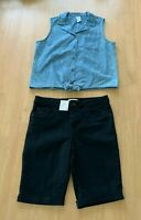 Girls size 14 blue denim pineapples tie top &  black denim shorts Target  NEW