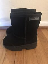 Bearpaw PAWZ Black Suede Toddler Boots Winter Treaded  * Size 5 * NEW