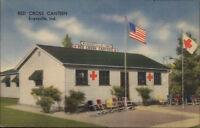 Evansville IN Red Cross Canteen Nice Linen Postcard