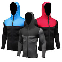 Mens Athletic Hoodies Hooded T Shirt with Zipper Workout Gym Top Spandex Dri fit