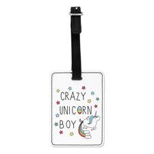 Crazy Licorne Boy Visual Luggage Tag Valise Sac-Drôle d'arcs en ciel