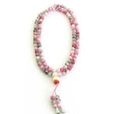 6mm Pink Green Jade Tibet Buddhist 108 Prayer Beads Mala Necklace
