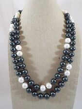 """Magnetic Clasp Necklace 20 3/4"""" L Green & White Individually Knotted Faux Pearl"""