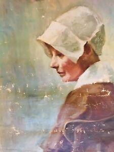 Antique Impressionist Portrait Pretty Woman Seated Chair Hat Coat White Bonnet