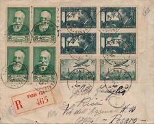 Lettre Recommandée Mermoz Bloc de 4 n°337 et n°343 + PA n°8 Paire Pesaro Cover