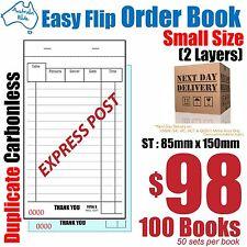 100x Small Duplicate Carbonless Restaurant Docket Order Book 85x150mm [RD142]