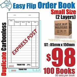 100x Small Duplicate Carbonless Restaurant Docket Order Book 85x150mm [RD142]
