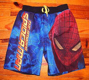 Boys Marvel Blue Yellow Red Spiderman Swimsuit Swim Shorts Trunks Size XS 4 / 5