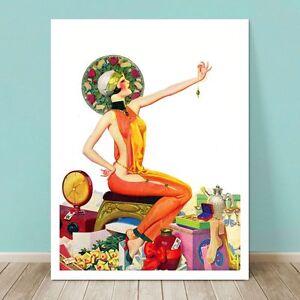 "ART DECO Pin-up Girl CANVAS PRINT Enoch Bolles  8x10"" Flapper W. Emerald"