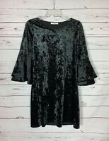 Andree By Unit Anthropologie Women's S Small Black Crushed Velour Cute Dress