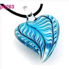 Elegant lovely Women's Abstract heart Strip lampwork glass bead pendant necklace