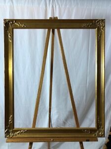 """20 x 24"""""""" Gold Painted Wood Frame - Clean Lines, Ornate Corner Gesso"""