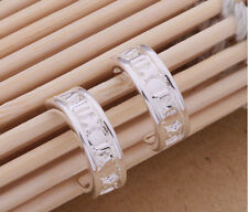 925 Sterling Silver Plated Hollow Huggie Hoop Stud Earrings Butterfly Back