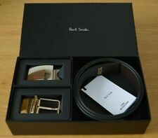 """PAUL SMITH black Saffiano leather and brown reversible belt kit 38"""" CUT TO FIT"""