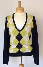 J. Crew Women's M Blue Green Argyle V-Neck Sweater Wool Cashmere Blend