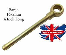 "Straight Long Neck Banjo Fitting  M16 Banjo for 8mm Hose 4"" Long Neck STEEL BZP"