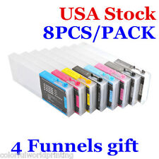 USA! 300ml 8pcs Epson Stylus Pro 4880 Refilling Ink Cartridges with 4 Funnels