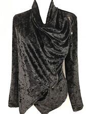 Blank NYC Womens Small Black Velvet Asymmetrical Moto Jacket Trendy NWT