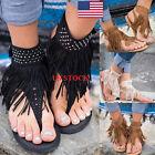 US Women Rhinestones Tassel Hollow Buckle Flats Flip-flops Sandals Shoes Thong