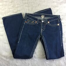 Woman's True Religion Blue Bobby Big T White Stitching Jeans Size 28 Flare Leg