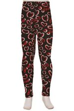 Red & White Valentine Hearts Girl's Toddler Leggings S/M Size 3-5 soft as LLR