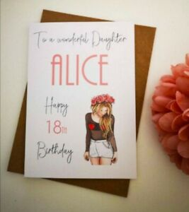 Personalised Birthday Card Teenage Girl Any Age Relation Daughter Granddaughter