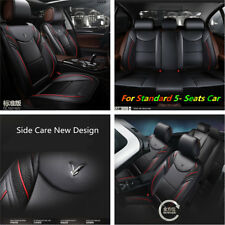 Luxury 6D Full Surrounded Pad Sport Black PU Leather Car Front Rear Seat Cover