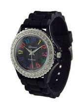 Ladies Girls Womens Black Multi Color CZ Bezel Silicone Rubber Geneva Watch