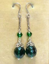 earrings to match old Bengel necklaces Vintage Art Deco deep green glass bead