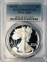 1987-S American Silver Eagle - PCGS PR-69 - Proof 69 Deep Cameo