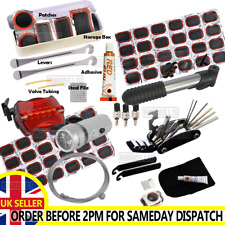 BIKE TYRE TUBE BICYCLE PUNCTURE REPAIR TOOL KIT CYCLE PATCHES GLUE GLUELESS LED
