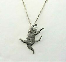 """925 Sterling Silver Necklace 18"""" Cute Edward Gorey'S Dancing Cat"""