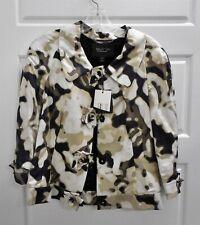 New St John Couture sz 2 Black Beige Multi 100% Silk Blazer Jacket