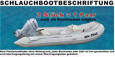 2x Bootbeschriftung plus 2x Schlauchbootbeschriftung n.Vorschrift DIN 10 cm