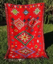 "Vintage Moroccan Handmade Boujad Boujaad Rug Berber Wool Rug 7'8"" x 4'8''"
