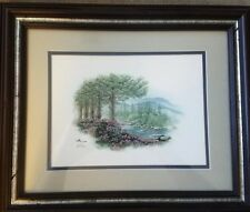 Don Balke River in Forest Print Framed Matted And Signed COA