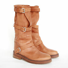 ANN DEMEULEMEESTER brown leather buckle strap wrap slouch military boots 35/5
