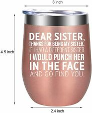 New listing New Funny Sister Gift Stemless Wine Tumbler Insulated 12oz Coffee - Gift Bag