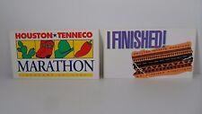 TWO - Vintage 1991 Houston Tenneco Marathon Bumper Stickers Excellent Condition