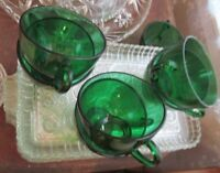 Anchor Hocking Glass 6 Colonial Lady Clear Snack Plate & Forest Green Cup Sets