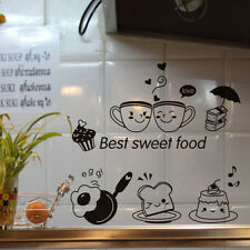 Removable Cute Food Pattern Kitchen Cartoon Wall Stickers for Restaurant Decors