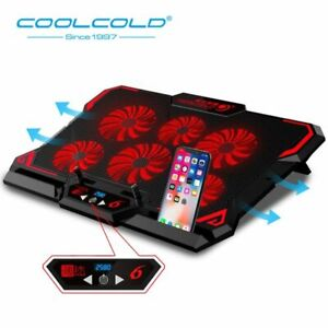 Laptop-Cooler-6-Cooling-Fan LED Cooling Pad 2 USB Ports Notebook Stand 15.6-17""